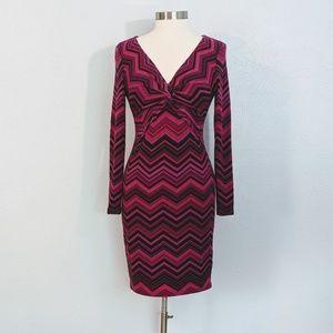 Cache Bright Multi-Color V-neck Sweater Dress